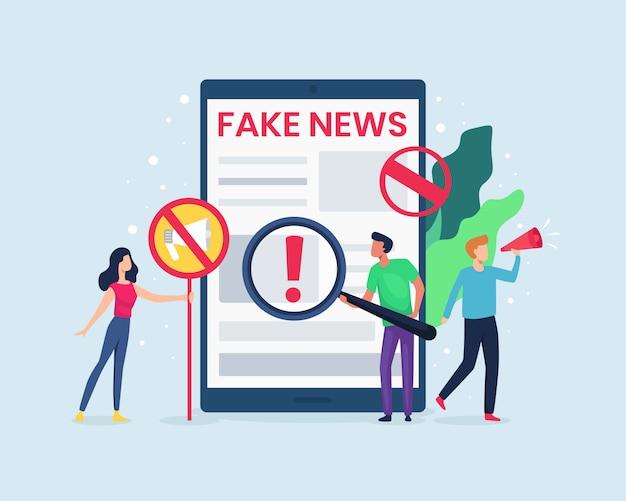 Ilustración la gente mira las noticias en internet