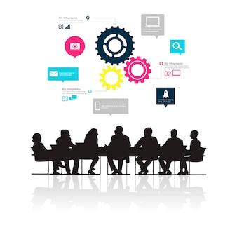 Ilustración de gente de negocios en la reunión.