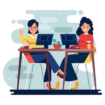 Ilustración con gente de negocios