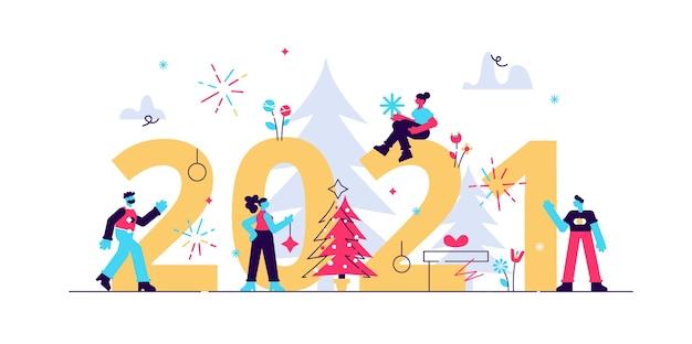 Ilustración gente pequeña se está preparando para el año nuevo se dedica a la decoración de la inscripción año nuevo