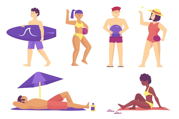 Ilustración de gente de playa
