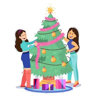 Ilustración de la gente que adorna el árbol