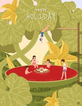 Ilustración de la gente de vacaciones de verano en la sandía tropical. disfrutando con un amigo