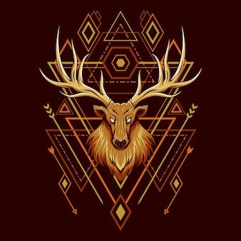 Ilustración de geometría de cabeza de ciervo