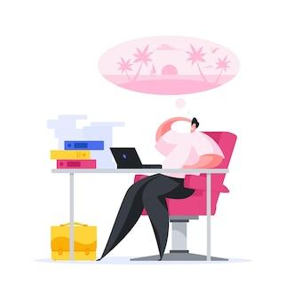 Ilustración del gerente masculino sentado en la mesa de trabajo en la oficina ocupada