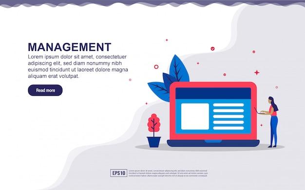 Ilustración de gestión y datos comerciales con personas pequeñas. ilustración para la página de destino, contenido de redes sociales, publicidad.