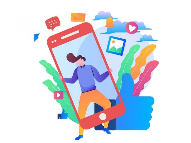 Ilustración de gestión de redes sociales