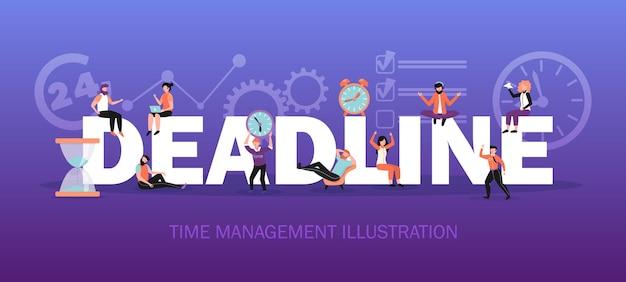 Ilustración de gestión del tiempo, concepto de fecha límite