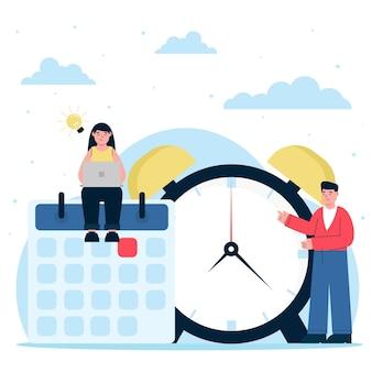 Ilustración de gestión del tiempo dibujada a mano plana