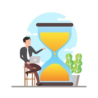 Ilustración de gestión del tiempo con hombre sentado en la silla con laptop