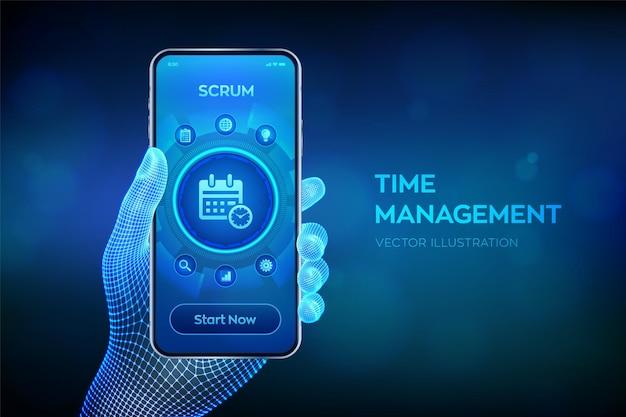 Ilustración de gestión del tiempo. planificación del tiempo de trabajo de la organización en la pantalla virtual