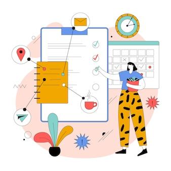 Ilustración de gestión de tiempo plano orgánico