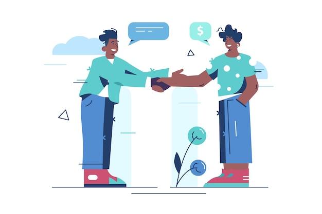 Ilustración de gesto de apretón de manos de personas.