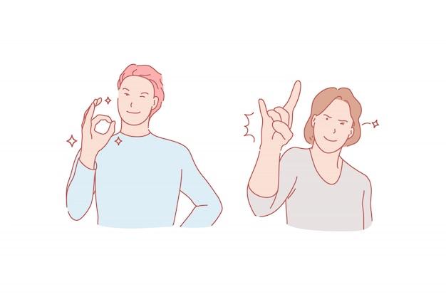 Ilustración de gesto de éxito