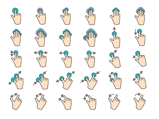 Ilustración de gesto de manos de pantalla táctil en línea delgada