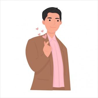 Ilustración de gesto de signo de amor coreano