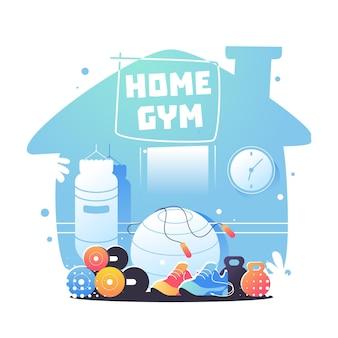 Ilustración de gimnasio en casa degradado
