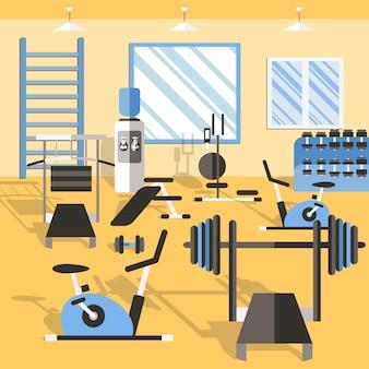 Ilustración de gimnasio de culturismo