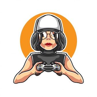 Ilustración de girl gamers