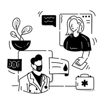 Una ilustración de glifo editable de personajes médicos de consulta en línea