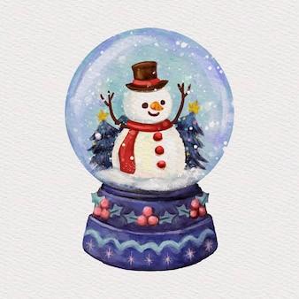 Ilustración de globo de bola de nieve de navidad acuarela