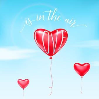 Ilustración de globo de corazón en el cielo, nubes blancas, signo de texto de cita de caligrafía. el amor está en el aire.