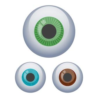 Ilustración del globo ocular aislado en blanco