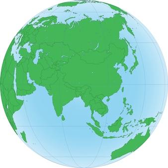 Ilustración del globo terráqueo con foco en asia.