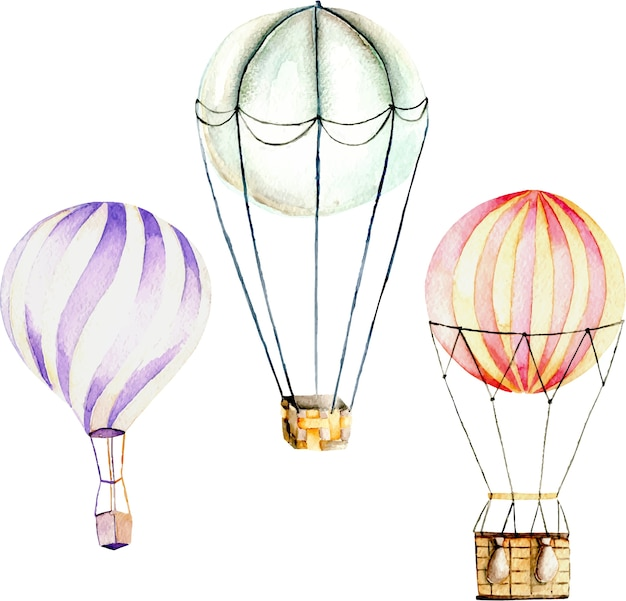 Ilustración con globos aerostáticos de acuarela