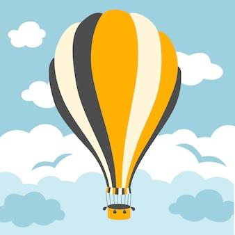 Ilustración de globos de aire caliente en el cielo
