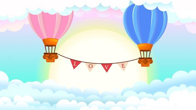 Ilustración con globos de aire caliente, feliz día de san valentín