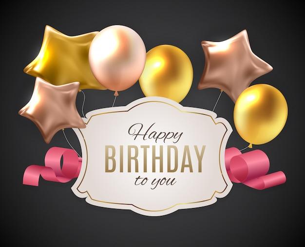 Ilustración de globos de feliz cumpleaños color brillante