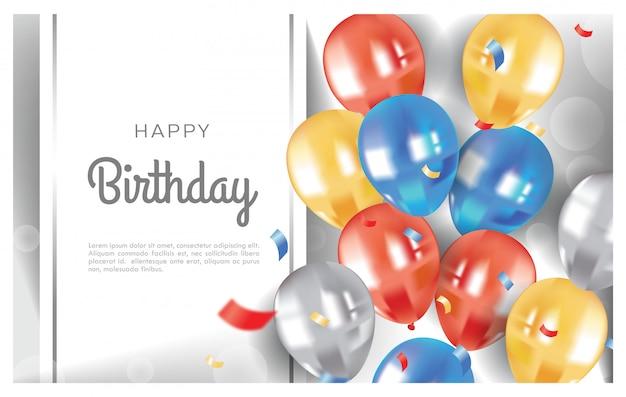 Ilustración de globos de feliz cumpleaños