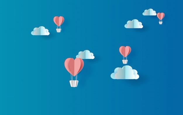 Ilustración de globos rojos corazón flotante