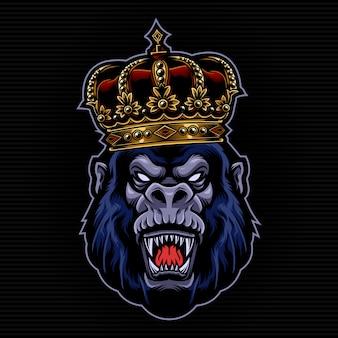 Ilustración de gorila con rey corona