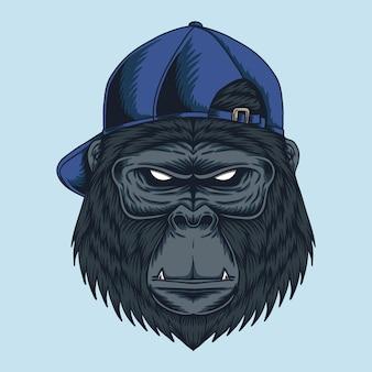 Ilustración de gorra de cabeza de gorila