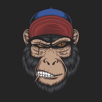 Ilustración de gorra de cabeza de mono
