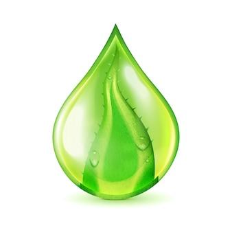 Ilustración de gota de agua de hoja de aloe