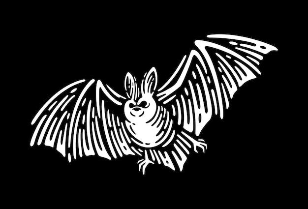 Ilustración grabada vintage de murciélago vampiro