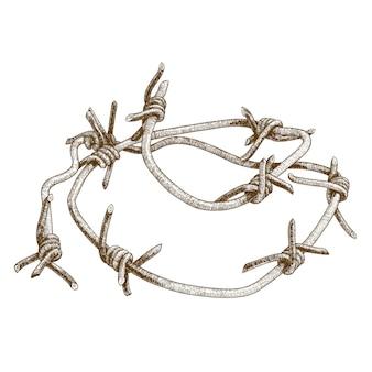 Ilustración de grabado de alambre de púas