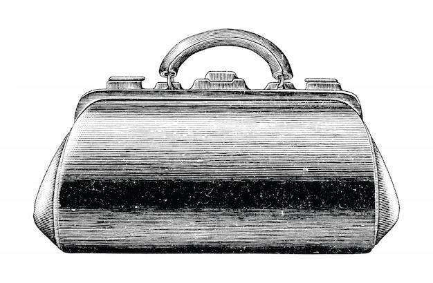 Ilustración de grabado antiguo de mano médica vintage bolsa dibujar blanco y negro clip art aislado, bolsa médica de primeros auxilios