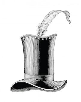 Ilustración de grabado dibujado a mano de sombrero de moda vintage