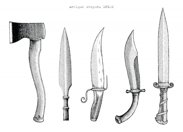 Ilustración de grabado de dibujo a mano de armas antiguas