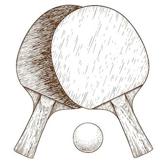 Ilustración de grabado de ping pong, tenis de mesa, dos raquetas y pelota