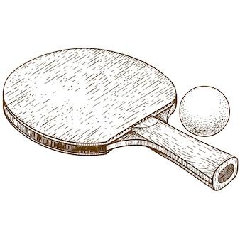Ilustración de grabado de raqueta de ping pong y pelota de tenis de mesa