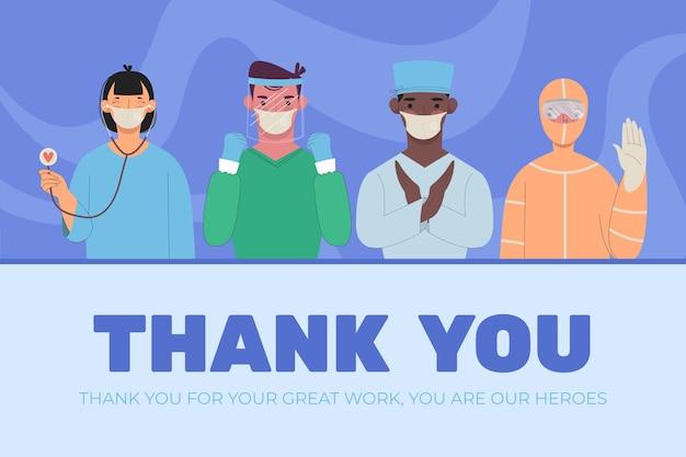 Ilustración de gracias médicos y enfermeras