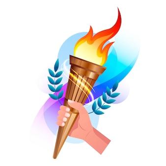 Ilustración de gradiente de llama deportiva