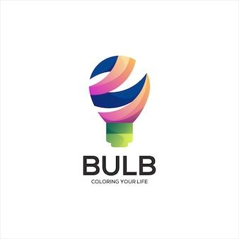 Ilustración de gradiente de logotipo colorido bombilla