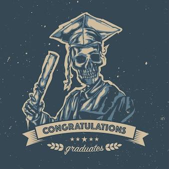Ilustración de graduación de esqueleto con cinta y letras