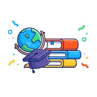 Ilustración de graduación graduación cap y libros. concepto de educación blanco aislado